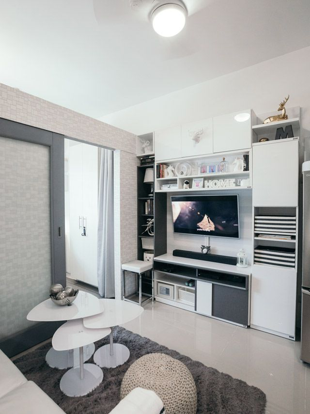 In This 23sqm Condo Unit You Can Sleep Work And Chill All Day Condo Interior Design Condo Interior Design Small Condominium Interior Design