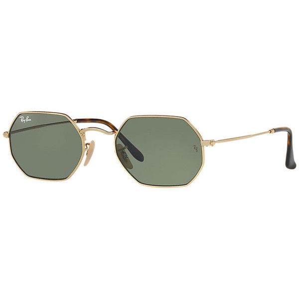 610937086607e Ray-Ban Octagonal Flat Gold Sunglasses, Green Lenses - Rb3556n (490 BRL) ❤  liked on Polyvore featuring accessories, eyewear, sunglasses, gold, ...