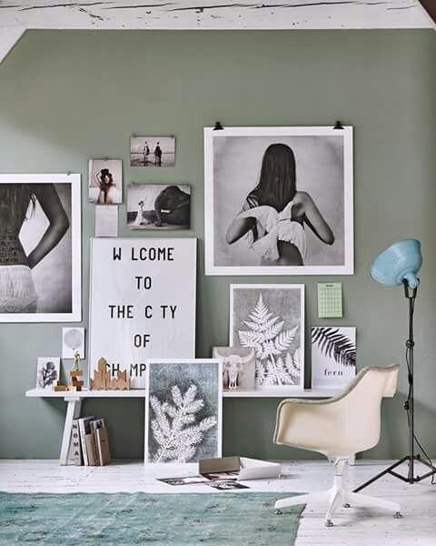Groen grijze muur  Inspiratie  Interieur Slaapkamer
