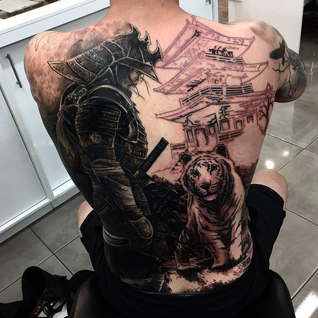 download free black ink samurai with tiger tattoo on man full back to use and take to your. Black Bedroom Furniture Sets. Home Design Ideas