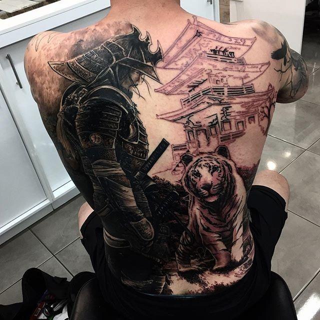 black ink samurai with tiger tattoo on man full back. Black Bedroom Furniture Sets. Home Design Ideas