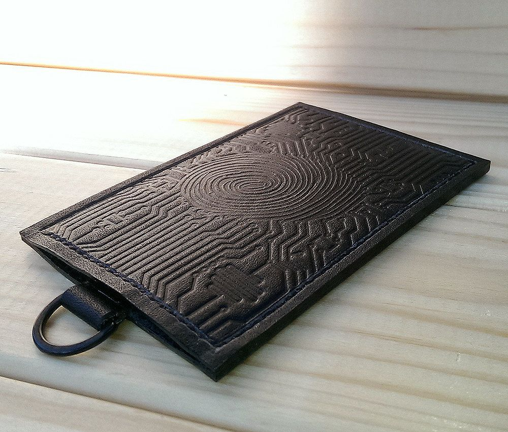 Black leather credit card holder for men / ID Holder id badge ...