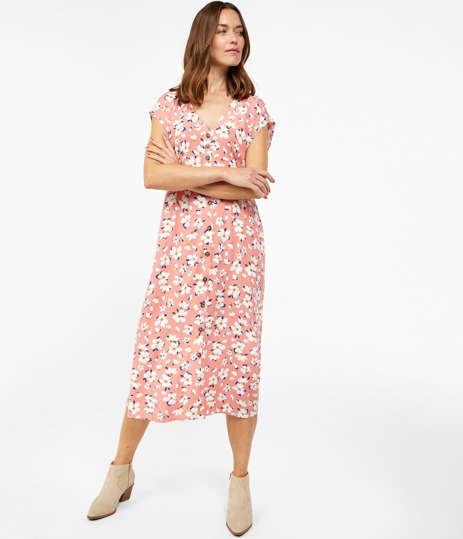 Pink Blommig klänning rynkning | MANGO | Festklänningar