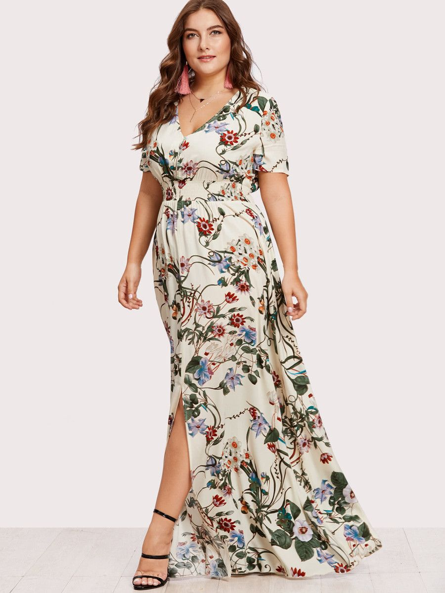 f0ef1d7f2a Slit Button Up Front Floral Dress -SheIn(Sheinside) | Just My Style ...