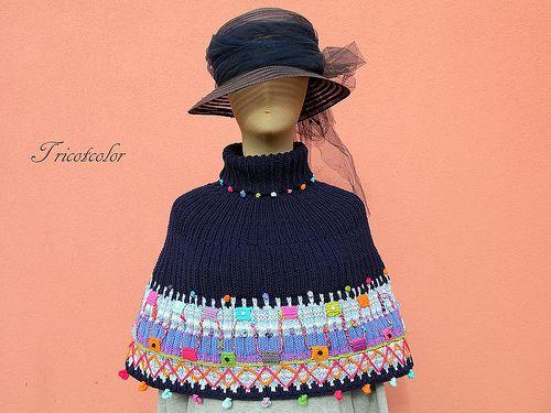 Chauffe-épaule coton marine et confetis ! | tricotcolor.blog… | Flickr
