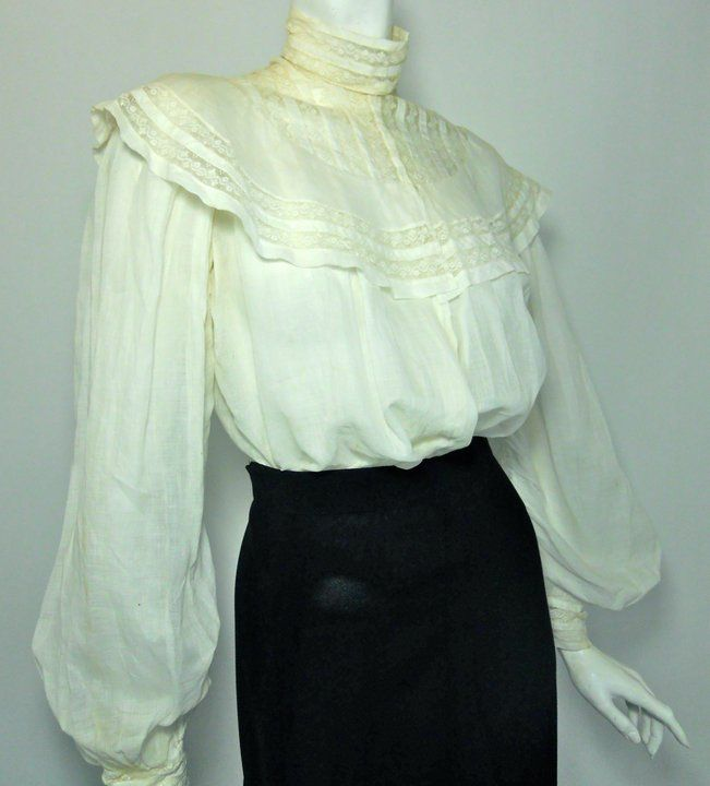 2efd97dcc73f0d Winter white cotton Gibson Girl early 1900s blouse with high collar and  rounded lace upper bodice.