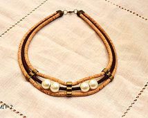 Cork Necklace - FREE SHIPPING WORLWIDE - Vegan Eco-Friendly Mother's Day Gift Idea
