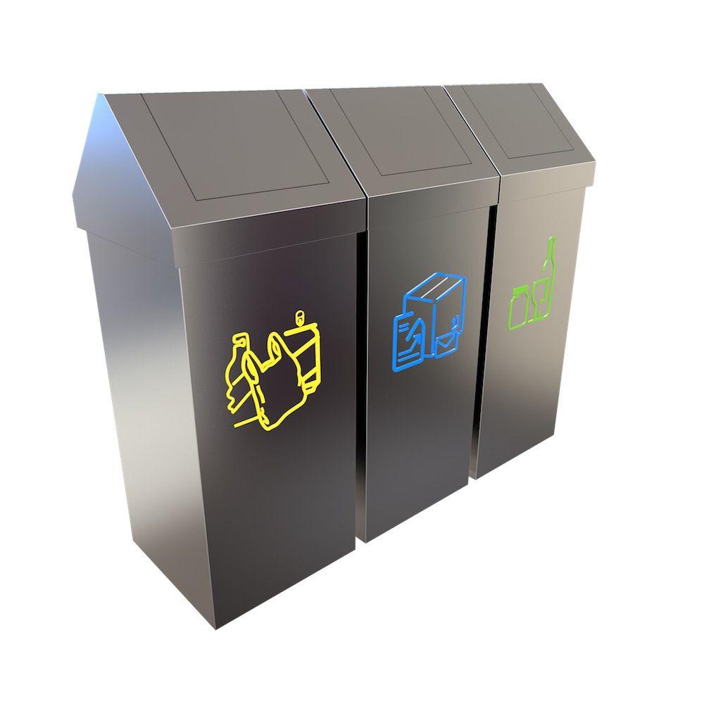 umea conteneur inox tri s lectif d chets 50 litres poubelle de tri recycling recycling. Black Bedroom Furniture Sets. Home Design Ideas