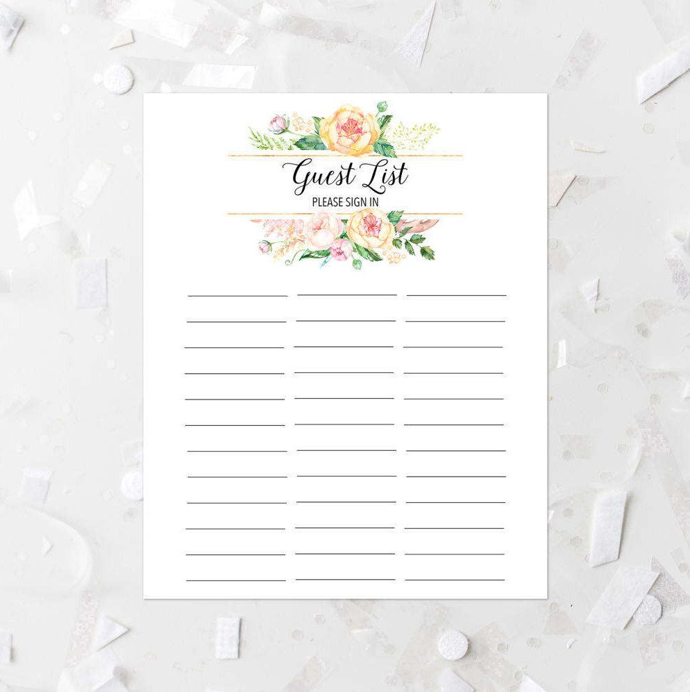 floral guest list printable guest list sign in sheet pink floral guest list baby shower