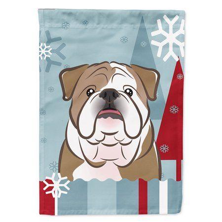 Winter Holiday English Bulldog Garden Flag Multicolor House