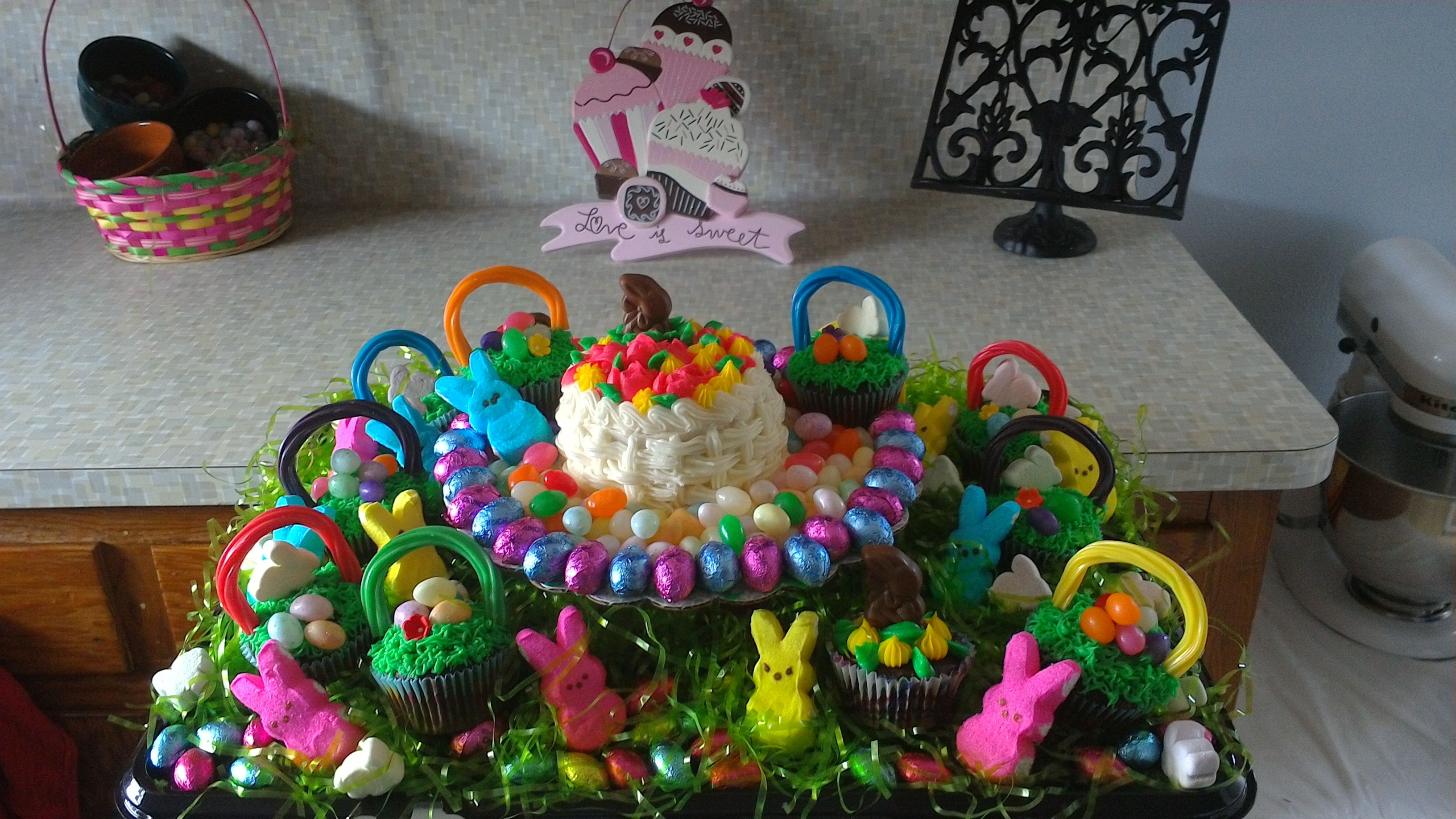 Easter basket for the whole family chocolate cupcake mini white easter basket for the whole family chocolate cupcake mini white cake and candy negle Gallery