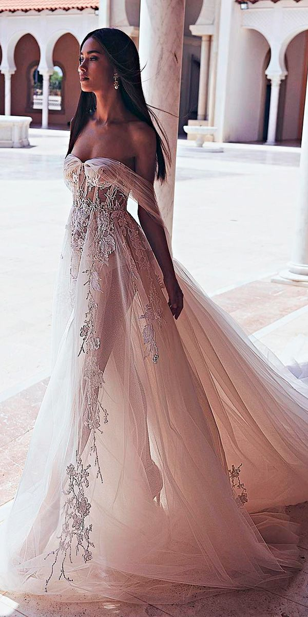 33 Romantic Off The Shoulder Wedding Dresses ❤ off the shoulder wedding dresses beautiful floral blush a line with train shiranabergil ❤ See more: http://www.weddingforward.com/off-the-shoulder-wedding-dresses/ #weddingforward #wedding #bride