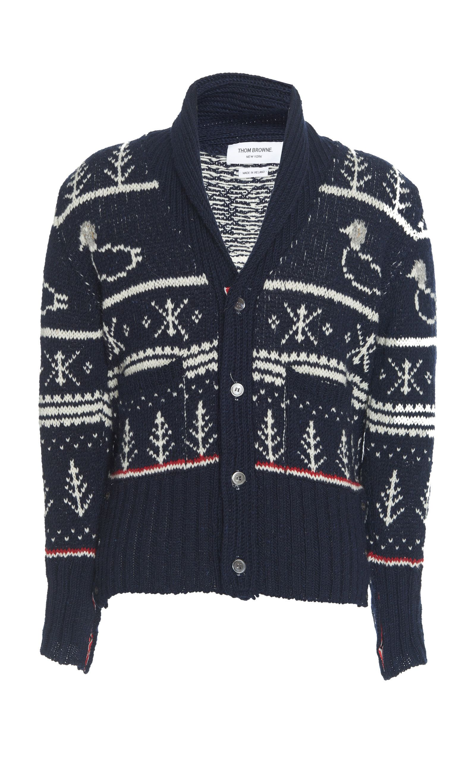 dd62ee25f3 THOM BROWNE SHAWL COLLAR DUCK CARDIGAN. #thombrowne #cloth | Thom ...