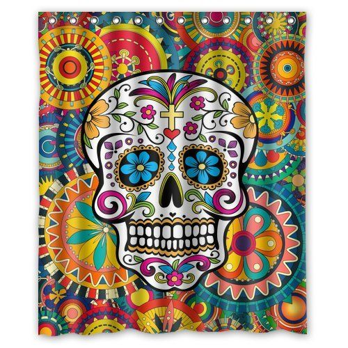 custom waterproof bathroom sugar skull shower curtain polyester