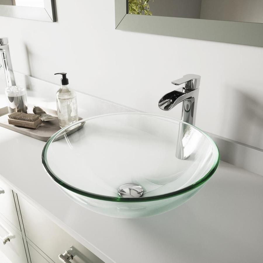Vigo Vessel Sinks Iridescent Glass Vessel Round Bathroom Sink With Faucet Drain Included Vgt1075 In 2020 Glass Bathroom Sink Glass Bathroom Glass Sink