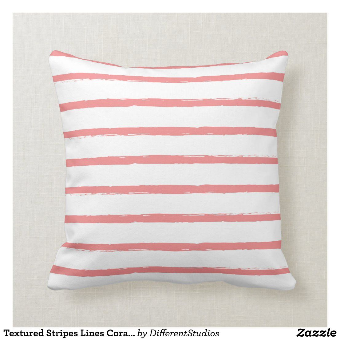 Textured Stripes Lines Coral Pink Modern Throw Pillow