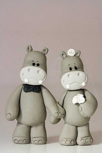 Hippo Bride And Groom Cake Topper