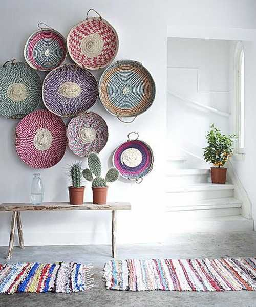 Modern Wall Decoration With Ethnic Wicker Plates, Bowls and Baskets