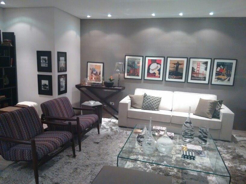 Sala De Estar Decorada ~ Sala decorada Etna  papel de parede Bobinex cinza  Salas de estar
