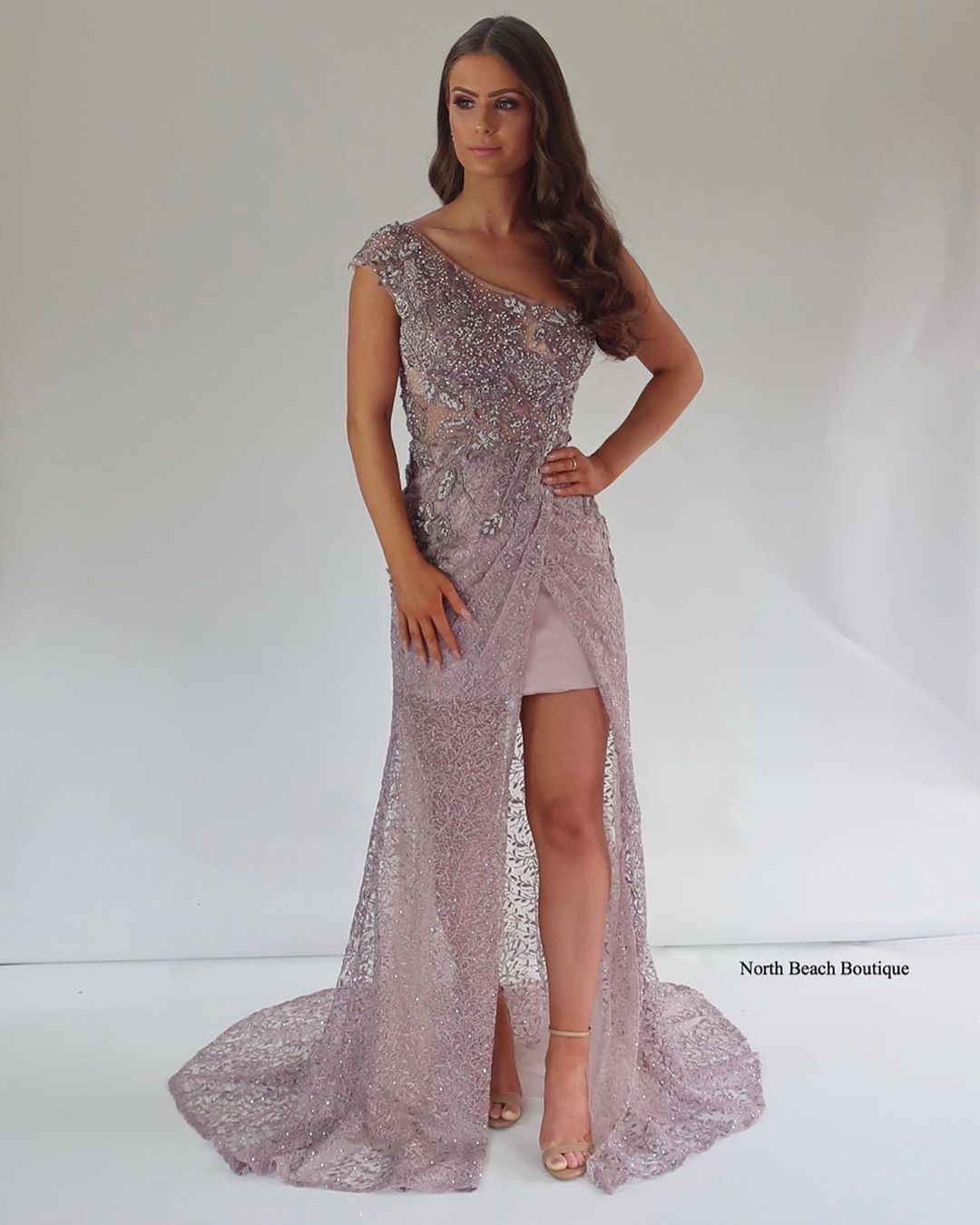 North Beach Boutique On Instagram Adriana Elegant And Ultra Feminine This One Shoulder Piece Is Crafted From Intricatel Dresses Lace Dress Evening Dresses