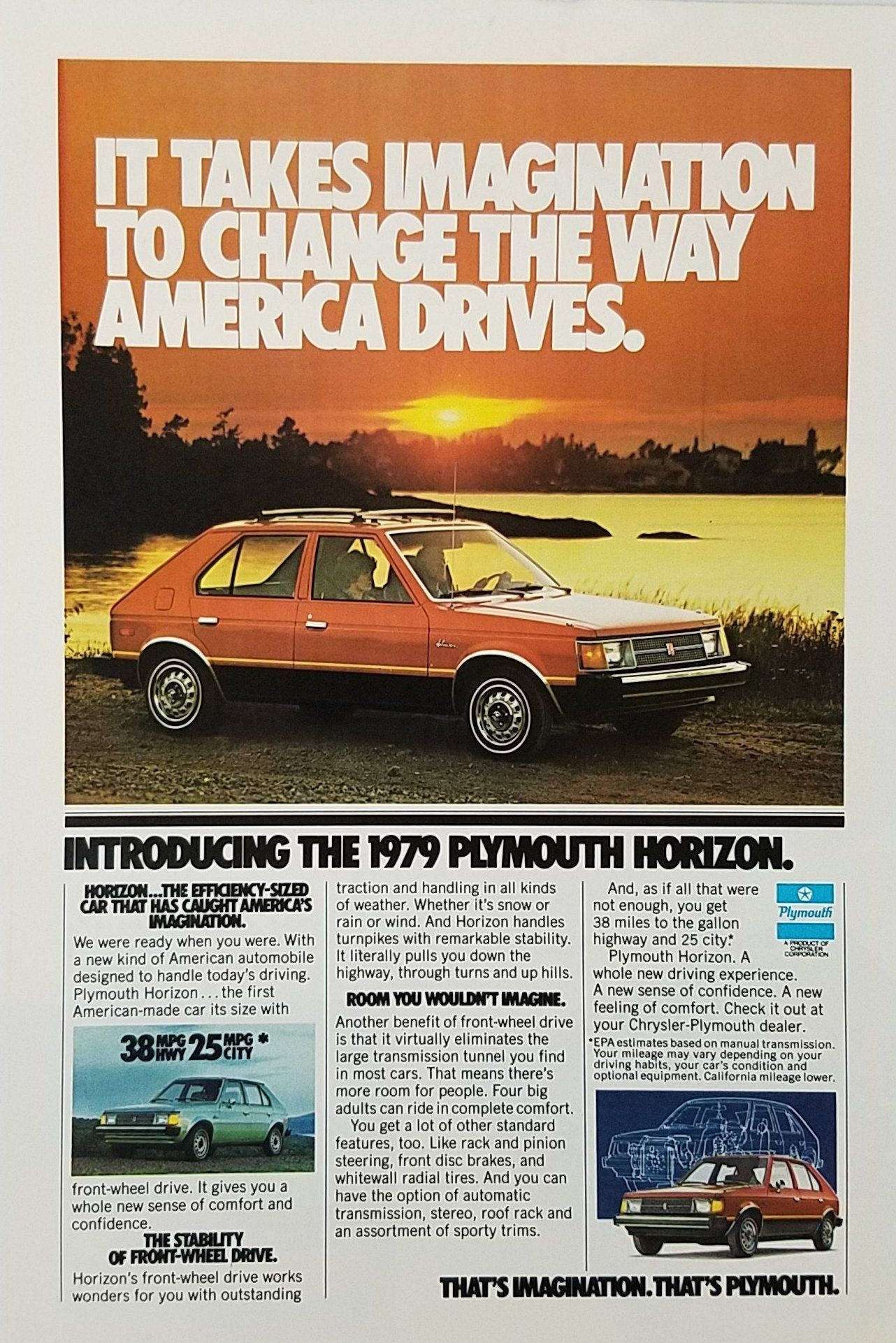 1979 Plymouth Horizon Vintage Ad - Sunset Lake | Sunset lake ...