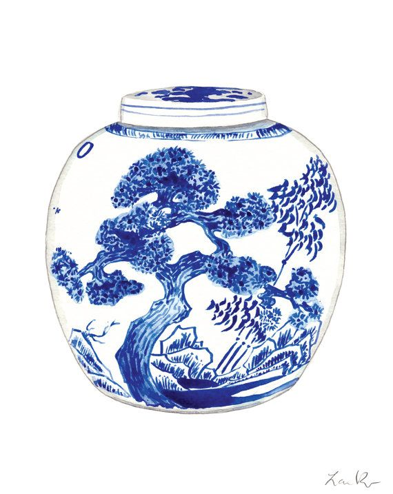 Blue And White China Porcelain Ginger Jar Vase No 9 Print Of
