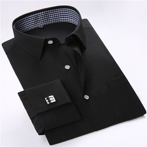 2016 Men's Solid Color French Cuff Dress Shirts (Cufflinks Included) Long Sleeve Classic-fit Square Collar Inner Plaid Shirt