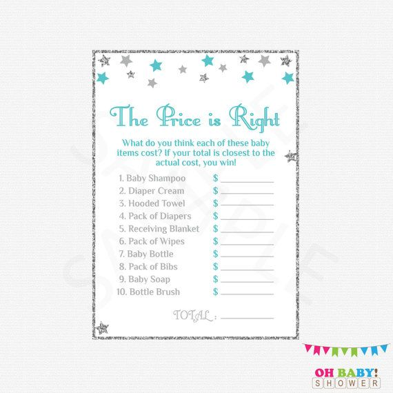 The Price Is Right Baby Shower Games Teal Silver Gray Baby Shower