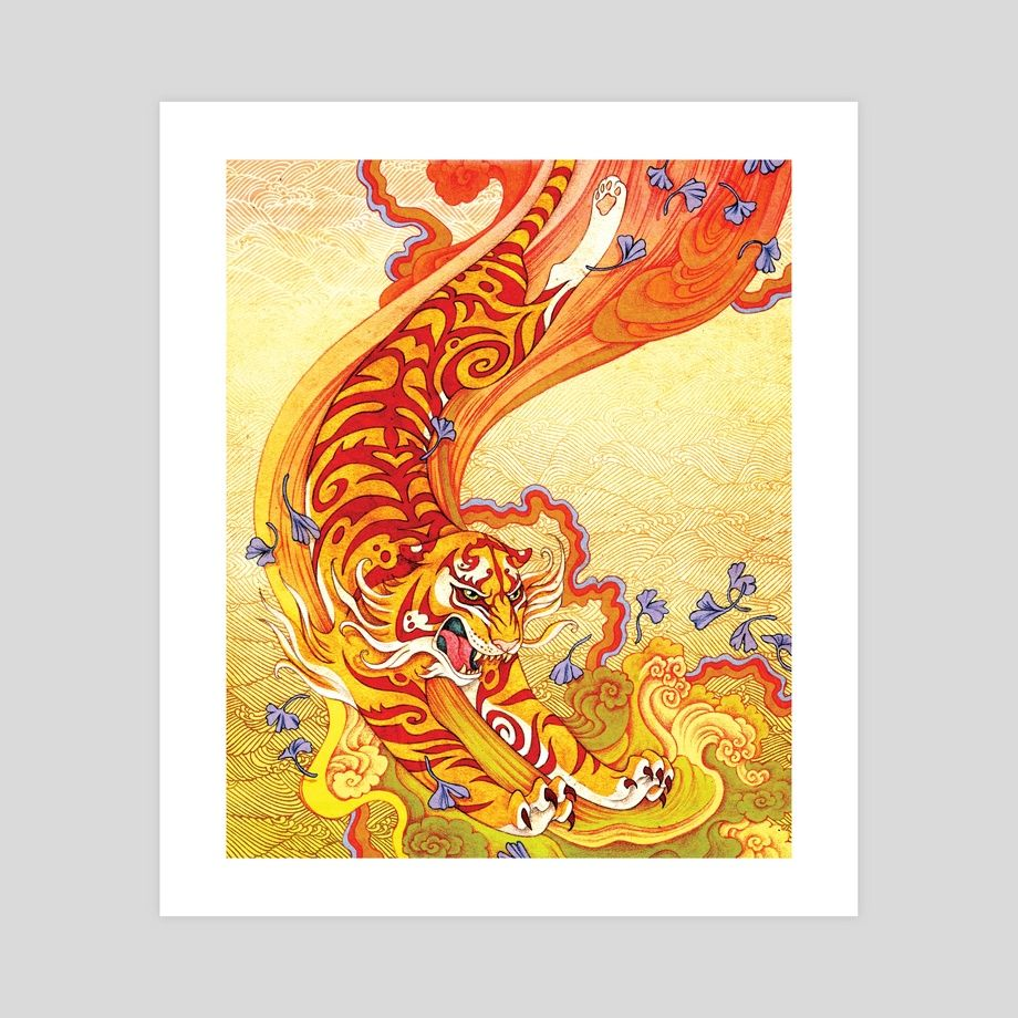 Attaque Du Tigre An Art Print By Agata Kawa Art Prints Giclee Art Print Art [ 920 x 920 Pixel ]