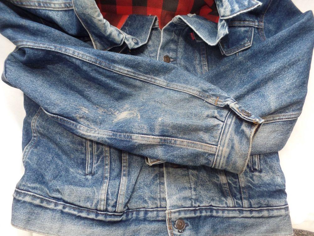 d363e01f Vintage LEVI'S Denim Lumberjack FLANNEL Lined TRUCKER Jacket Size 44 Warm  Jean #Levis #JeanJacket