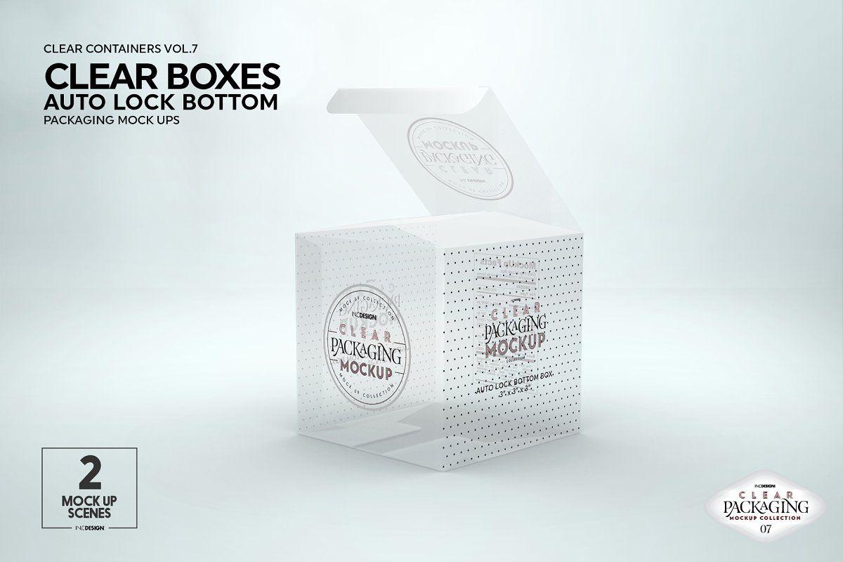 Download Clear Lock Bottom Boxes Mockup Box Mockup Packaging Mockup Food Mockup