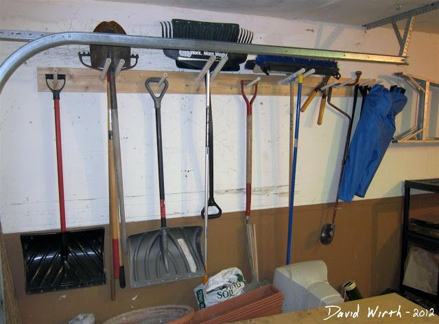 Garage Shelf Tool Rack Garden Tools Hang On Wall Shovel Snow Rake Broom Good Idea