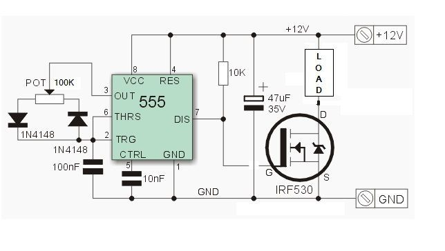 Pwm Dimmer Using Ne555 And Mosfet With Diy Aluminium Case Electronic Circuit Design Electronic Circuit Projects Circuit Diagram