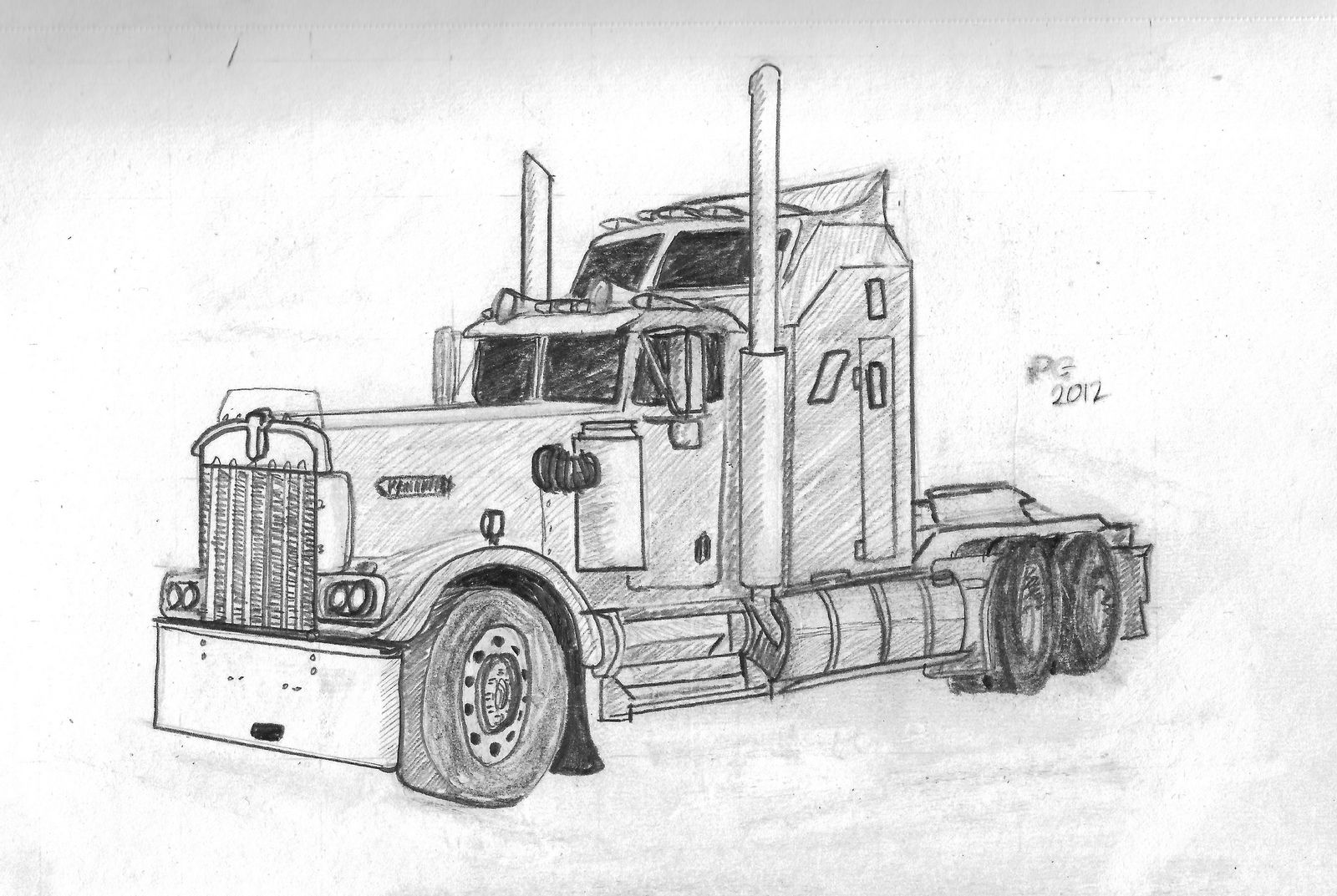 Truck Pencil Drawings Truck Drawings In Pencil Pencil Drawing A5 Size Truck Art Cool Drawings Semi Trucks