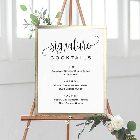 Signature Cocktails Sign Template, Printable Drink Sign