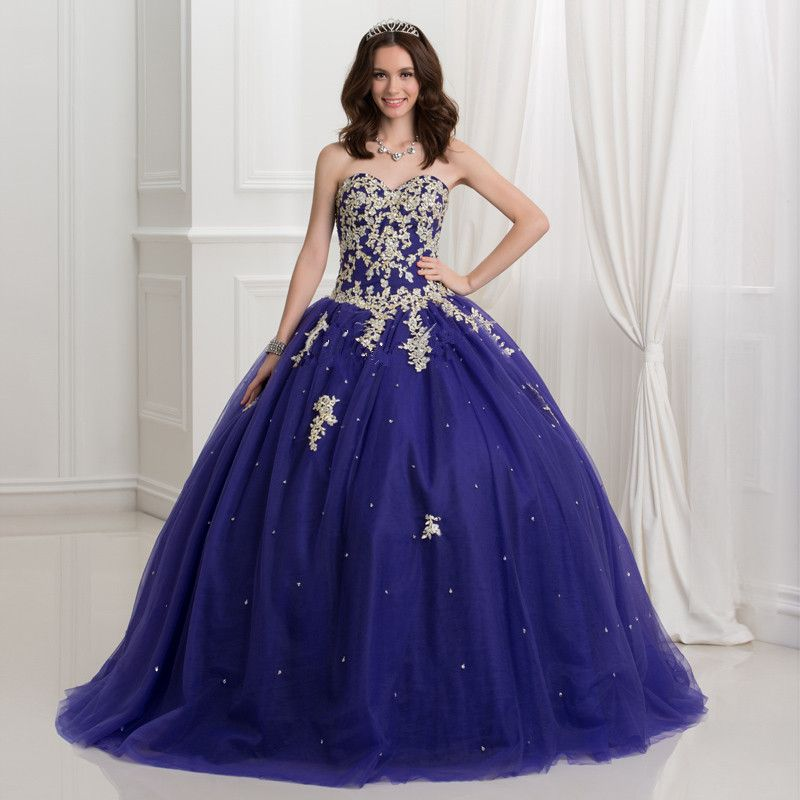 Find More Quinceanera Dresses Information About Plus Size Vestidos Debutante Dark Royal Blue Ball Gown