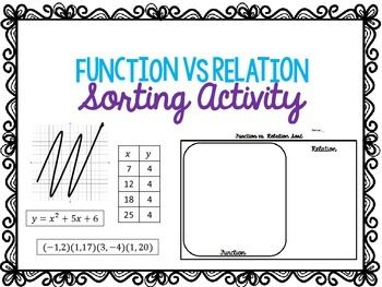 Free For This Activity Students Will Practice Identifying The Difference Between A Function And Relation Have Cut Out Pictures Tables