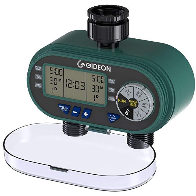 Amazon Com Gideon Electronic Dual Valve Hose Irrigation Water Timer Sprinkler System Simple Hose Connection With Eas Water Timer Water Sprinkler Irrigation