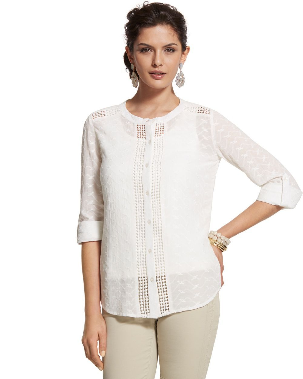 Chico's Women's Sweet Eyelet Emmalyn Shirt