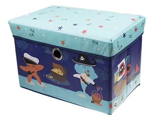 Underwater Pirate Collapsible Cushion Topped Organizer Blue Toy Storage Organization Kid Toy Storage Toy Storage Boxes