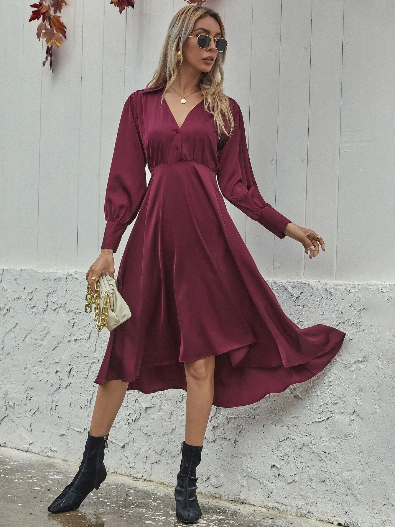 Satin Covered Button Puff Sleeve A Line Dress 27 A Line Dress Satin Covered Buttons Dresses [ 1785 x 1340 Pixel ]