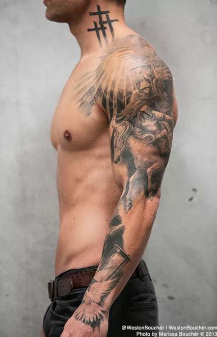 Trendy Tattoo Neck Shoulder Men 48 Ideas Angel Sleeve Tattoo Tattoo Sleeve Men Best Sleeve Tattoos