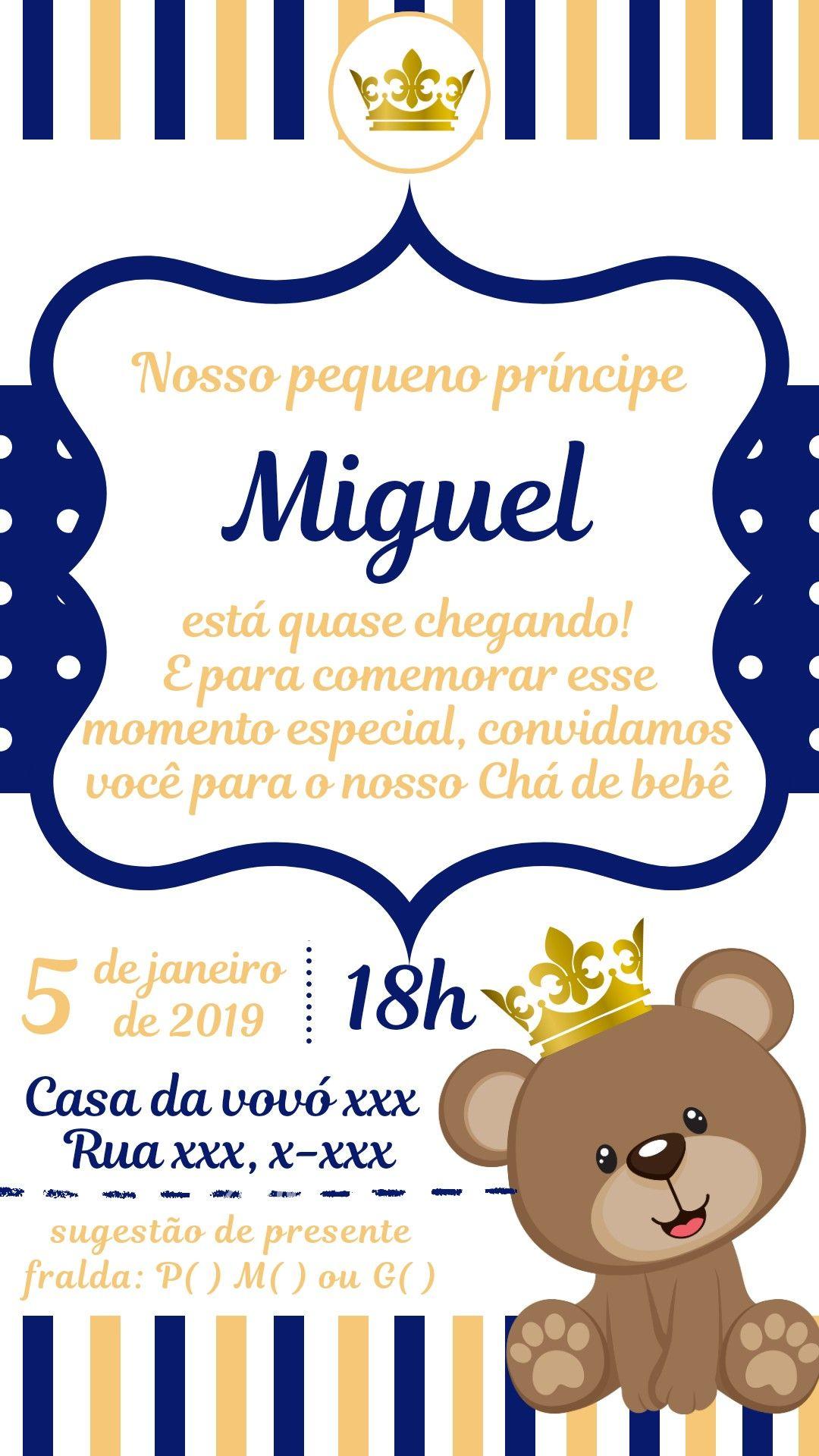 77a930f5ae Convite chá de bebê, convite príncipe, convite menino. Alteramos os dados  por um valor de 5,00.