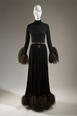 Christian Dior by Marc Bohan, evening dress, silk jersey, ostrich feathers, spring 1968, France, Fashion Institute of Technology - Lauren Bacall: The Look