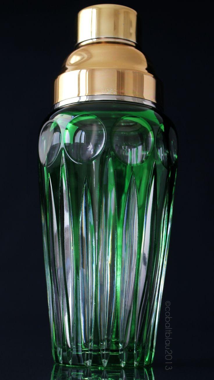 Glass Cocktail Shaker 1950s 1960s Mid Century Absinthe Green Vintage Barware Bar Cart Accessories Martini Shaker Crystal Glass Cocktail Shaker Vintage Barware Martini Shaker