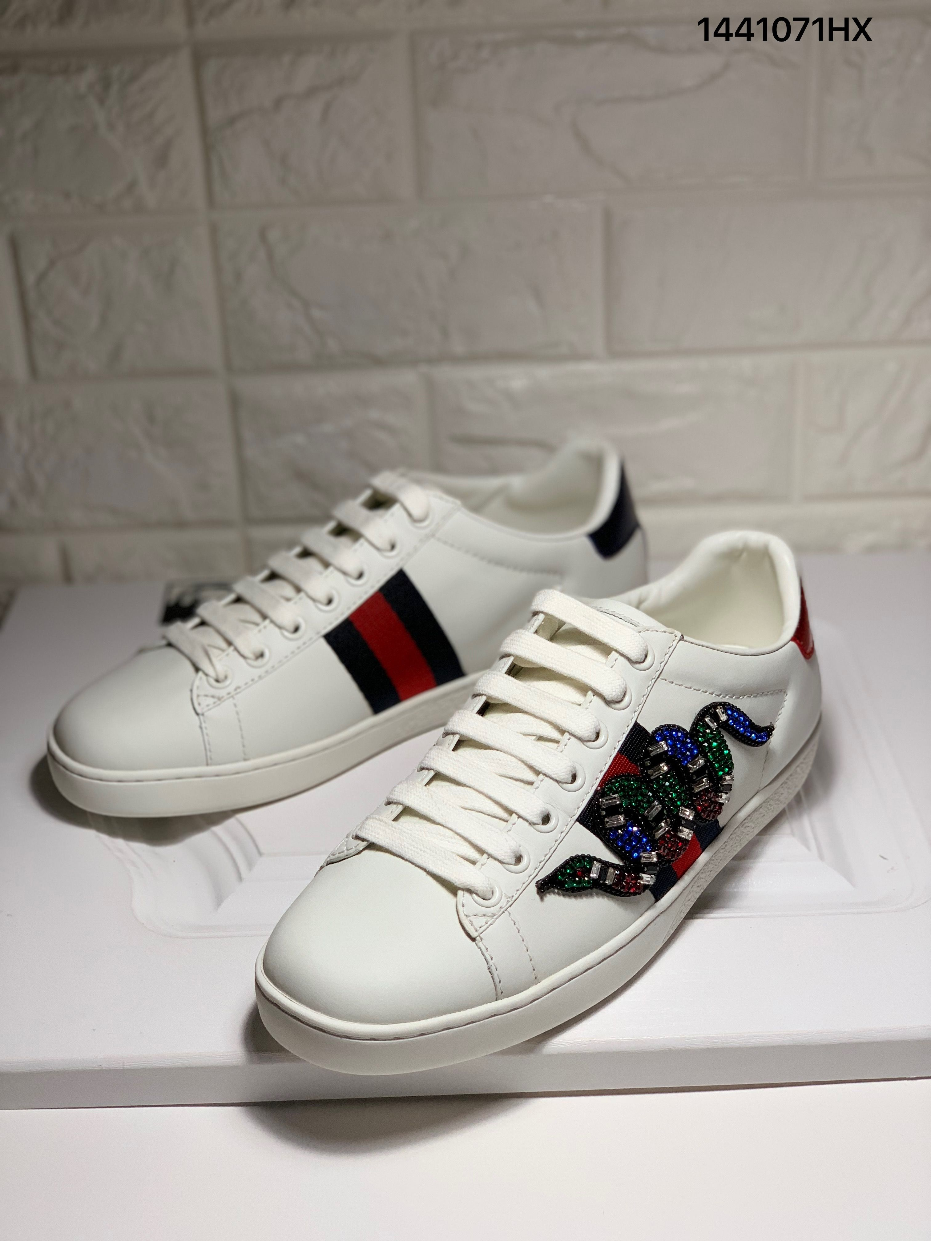 Gucci ace sneakers crystal snake white