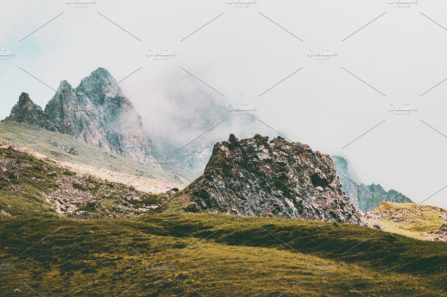 Rocky Mountains foggy Landscape  by e v e r s t on @creativemarket