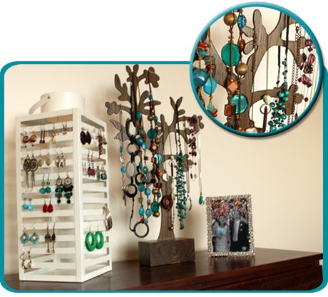 Jewellery Storage Solution For A Growing Collection Candle Lantern Earrings And Tall Wooden Stand Necklaces