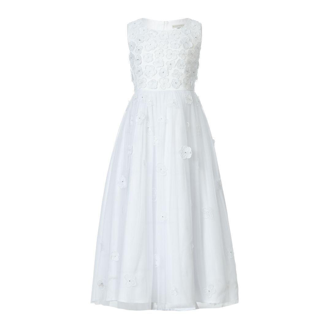 Designer girls white scattered flowers communion dress