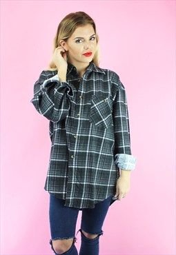 90s unisex baggy grunge checked shirt